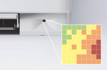 Mřížkový snímač snímá teplotu v64 bodech čtvercové mřížky.